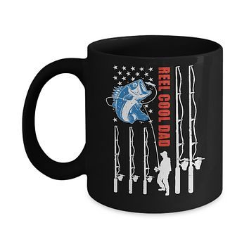 Reel Cool Dad American Flag Fish Fishing Fathers Day Mug