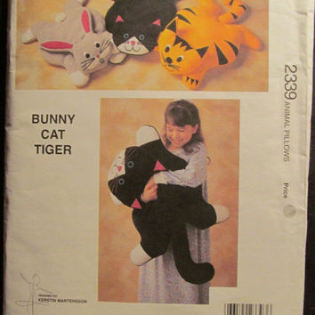 SALE Uncut 1994 Kwik Sew Sewing Pattern, 2339! Animal Pillows/Stuffed Cat, Tiger, & Bunny Pillows/Kids/Children's Toys/Bedroom Decor/Comfort