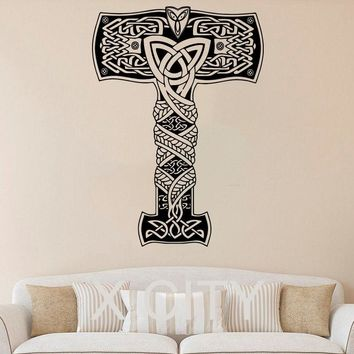 Thor Wall Decal Hammer Avengers Mjolnir POSTER VINYL STICKER ART SUPERHERO NURSERY CHILDREN KID ROOM MURAL HOME DECOR