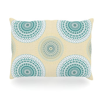 "Julia Grifol ""Soft Mandalas"" Green Yellow Oblong Pillow"