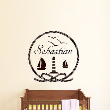 Wall Decals Personalized Name Decal Ship Lighthouse Seagull Vinyl Sticker Boy Baby Children Nautical Nursery Bedroom Decor Art Murals US2