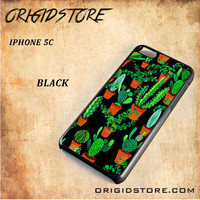 Cactus Black Pattern For Iphone 5C Case - Gift Present Multiple Choice