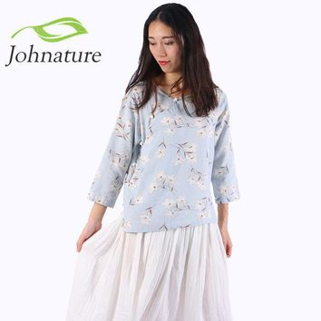 CREYL Johnature 2016 Autumn Cotton Linen Floral Chinese Style O-neck Women Shirt New Three Quarter Sleeve Button Girl Top Blouse