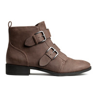 H&M - Boots with Metal Buckles - Dark brown - Ladies