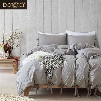 Bonenjoy Queen Size Bedding Set Grey Color Soft Cotton Polyester King Size Bedding Kit Ties Hotel Used Bed Covers Quilt Cover