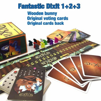 Dixit 1 2 3 4 5 6  7 with wooden bunny cards board game Russian and English instruction table game kid game for children family
