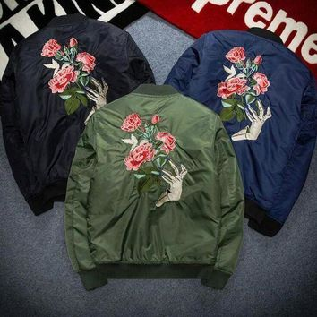 Rose Embroidery Autumn Winter Women Men Loose Large Size Cotton Coat With Thick Jacket Blue