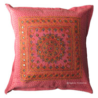 Red India Handmade Mirror Embroidered Cushion cover