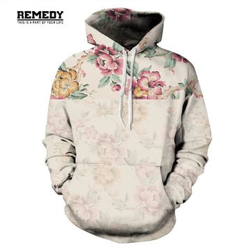 Harajuku Rose flower 3D printed hoodies sweatshirts Men/Women warm casual hoody coat Loose pullover Couple models Hoodies 3XL