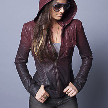 Red Ombre Hooded Leather Jacket