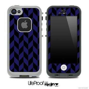 V5 Chevron Pattern Black and Blue Skin for the iPhone 5 or 4/4s LifeProof Case