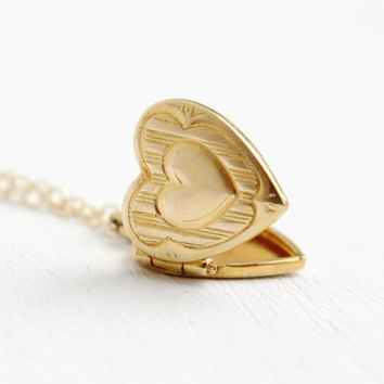 Vintage 10k Gold Heart Locket Necklace- 1950s Mid-Century Small Dainty Love Pendant Fine Jewelry