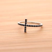 SIDEWAYS CROSS ring, with black crystals in 925 sterling | girlsluv.it
