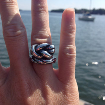 Nautical Rope Rings, fine silver love knot sailors knot square knot rope heavy solid weighty chunky statement ring large big stacking set