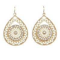 Gold Rhinestone Filigree  Teardrop Earrings by Charlotte Russe