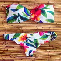 Floral Triangle Swimsuit Swimwear Brazilian Bathing Suit