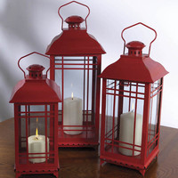 Set of 3 Farm Fresh Red Decorative Metal Pillar Candle Lanterns: MELROSE 28081 Christmas Central Home Decor and Outdoor Living