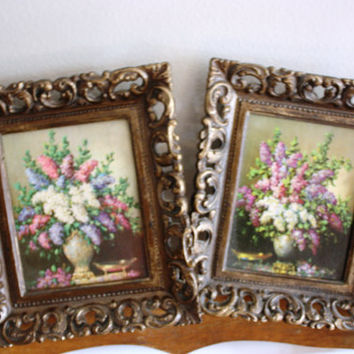 Two Vintage Small Floral Prints, Each in a Beautifully Ornate Guilt Frame