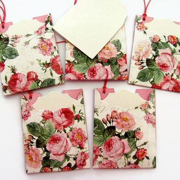 Rose Gift Tags, Thank You Tags, Escort cards, Valentines Day Tags