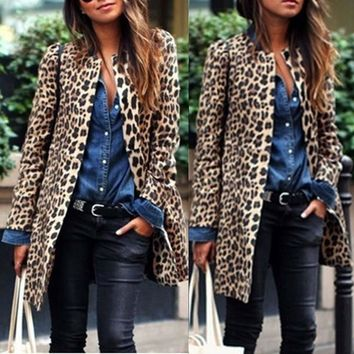 Women Leopard Sexy Winter Warm New Wind Coat Long Sleeve Open Stitch Cardigan Leopard Print Long Brown Coat