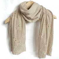 Cream merino wool lace scarf Butterfly by foldi on Etsy