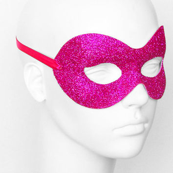 Glitter Fuschia & Hot Pink Masquerade Mask  -  Shimmering Pink Venetian Style Halloween Mask - For Masquerade Ball, Prom, Costume Party