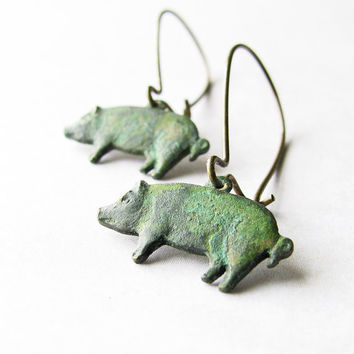 Pig Earrings, Green Patina Brass Charms - Pig Dangles, Animal Jewelry, Farm, Country Jewelry