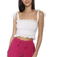 Gab & Kate Eyelet Smocked Crop Top