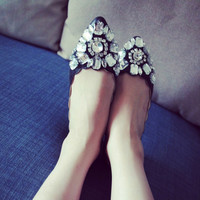 Korean Stylish Soft Pointed Toe Rhinestone Shoes [4920520516]