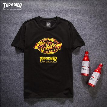 Trendsetter Thrasher X Dickies Women Men Fashion Casual Shirt Top Tee