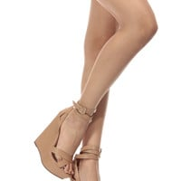 Natural Faux Leather Wrap Around Wedges