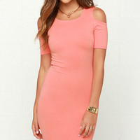 On the Avenue Coral Pink Bodycon Midi Dress