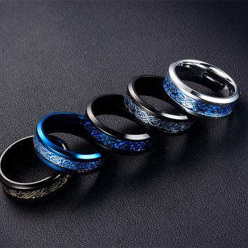 6 color Blue Black Silvering Irish Dragon Titanium Carbide Ring Wedding Bands Couple Anniversary Jewelry