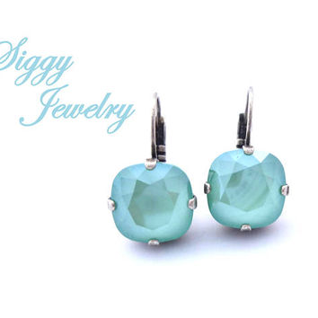 Mint Green Swarovski Crystal Earrings, Drop or Posts, 12mm Cushion Cut, Minty Aqua Turquoise Shade, Gorgeous New Color, Select A Finish
