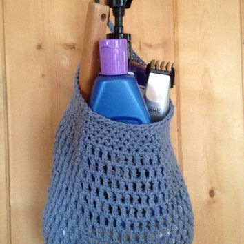 Hanging Organizer Bag Dorm Accessories Storage Bathroom Shower Caddy Travel Denim Blue
