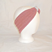 Medium Coral Pink Crochet Ear Warmer with Gray Accent - Cinched Women's Earwarmer Headband