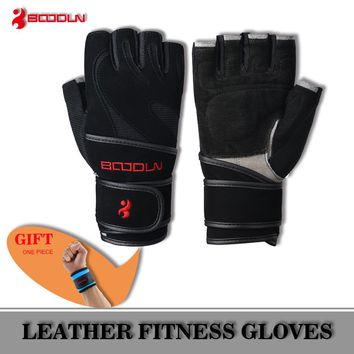 BOODUN Genuine Black Leather Wrist Fitness Gloves Gym Men Women Breathable Training Sport Weightlifting Fingerless Gloves