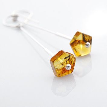 amber earrings baltic amber jewelry minimalist earrings sterling silver dangle modern silver earrings 925 brown in handmade