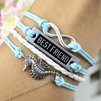 Best friends bracelets, bracelet, hippocampus infinity bracelet, white, light blue leather rope, ancient silver bracelet, girlfriend and BFF