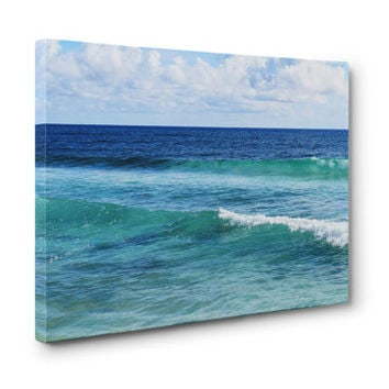Quintana Roo - Gallery Wrap Canvas, Blue and Green Tropical Beach Surf Decor Coastal Ocean Waves Canvas Wrap in 8x10 11x14 16x20 20x24 24x36