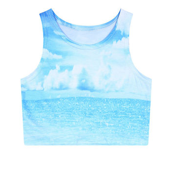 Summer Sleeveless Print Slim Crop Top Tank Top = 5839630273