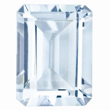Loose Aquamarine Gemstone 8x6mm Emerald Cut AA Quality