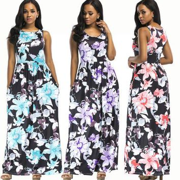 Digital Camellia print sexy nightclubs European and American multicolor round neck dress