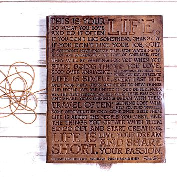 The Life Manifesto Oversized Large Handmade Leather Journal