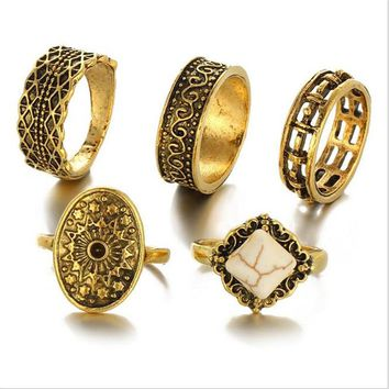 5pcs/lot Bohemia Style Gold Color Finger Rings Set for Women
