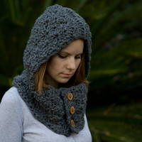 RESERVED Hooded Cowl, Wood Button Crochet hooded scarf, Charcoal Gray, Grey