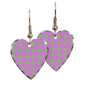 Mod pink green circle pattern Earring