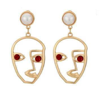 Faux Ruby Cultured Pearl Abstract Face Earrings