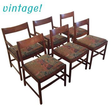 Gorgeous Set of 6 Vintage Danish Modern Dining Chairs
