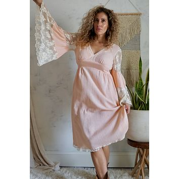 Vintage Lace Bell Sleeve Gauze Bohemian Dress